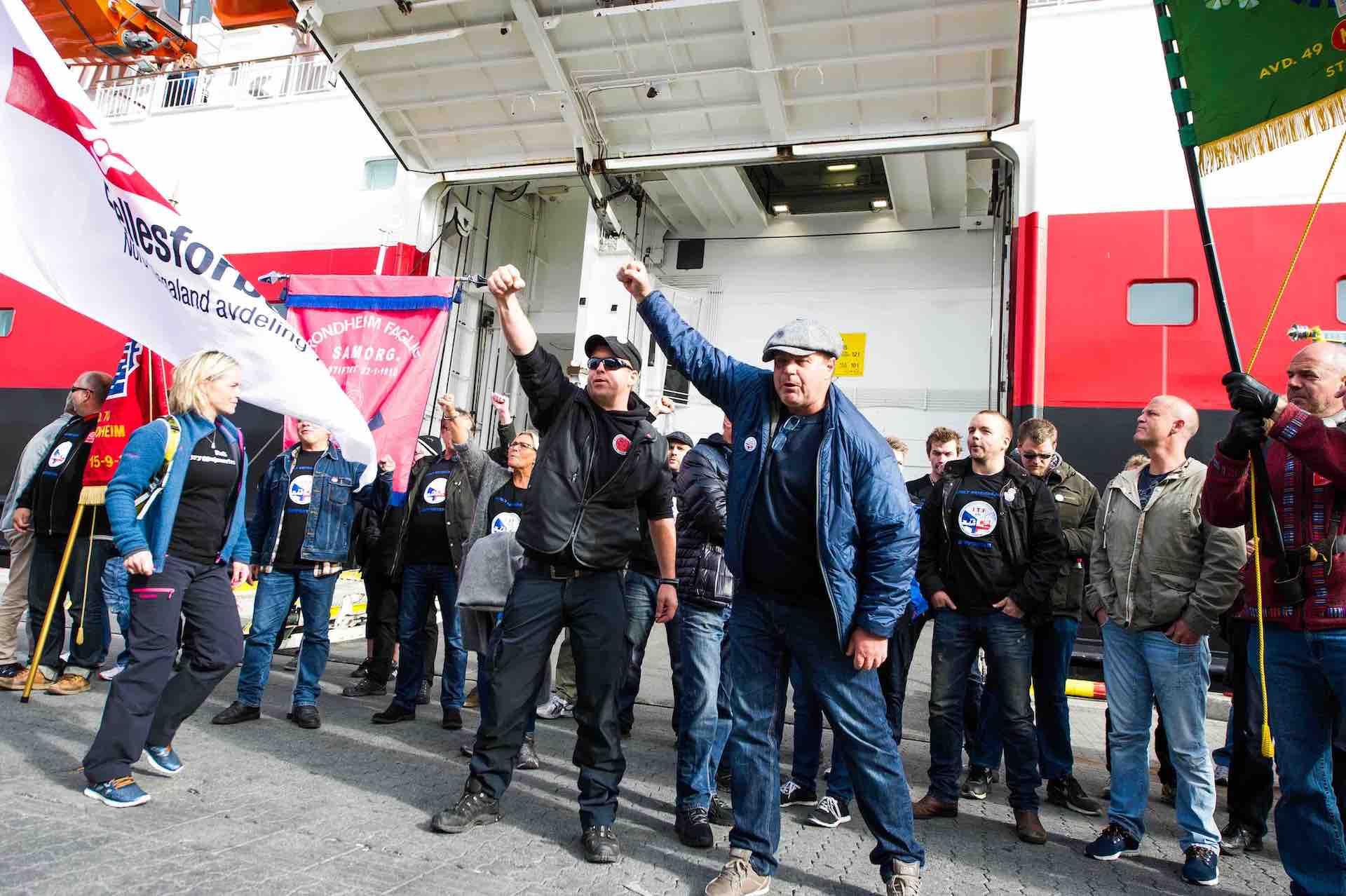 havnearbeidere i streik i Risavika